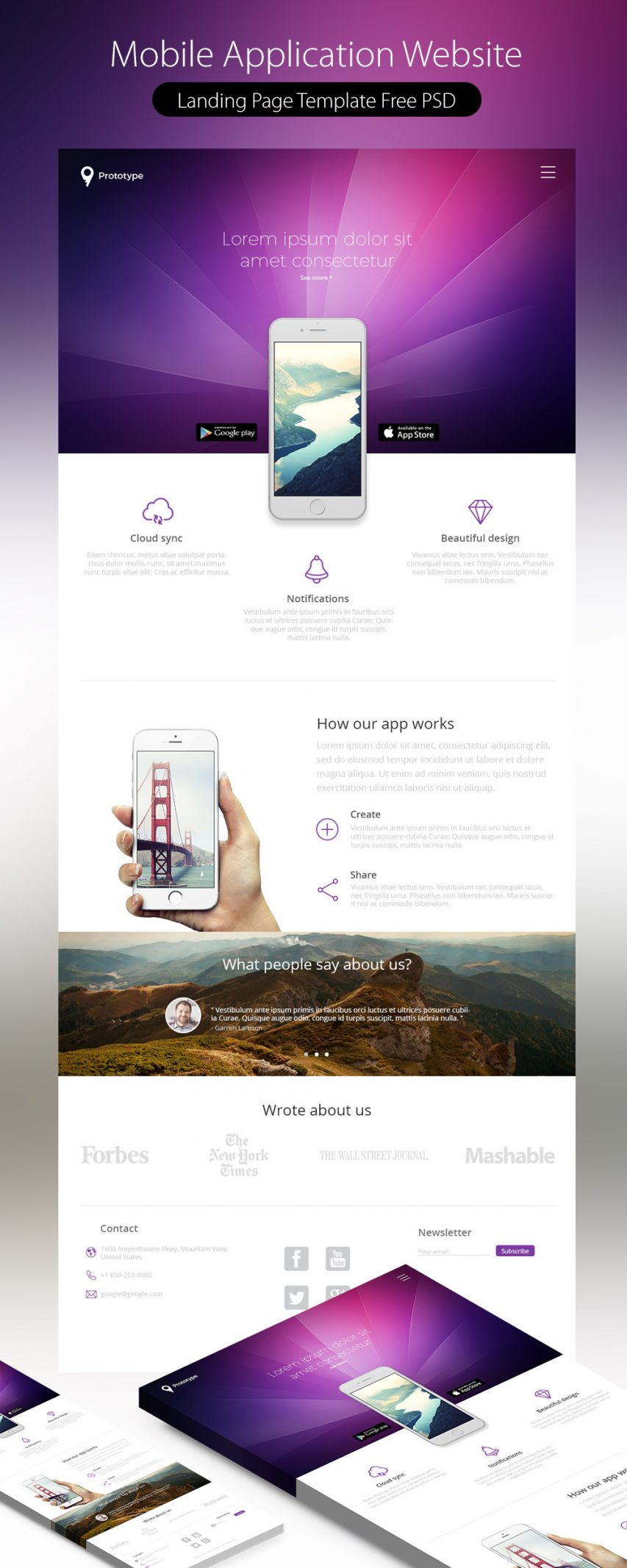 Free Mobile Application Landing Page Template Free Psd At Freepsd