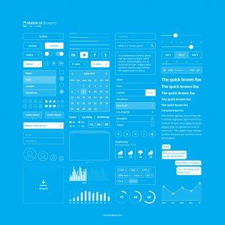 Mobile Blueprint UI Kit Free PSD