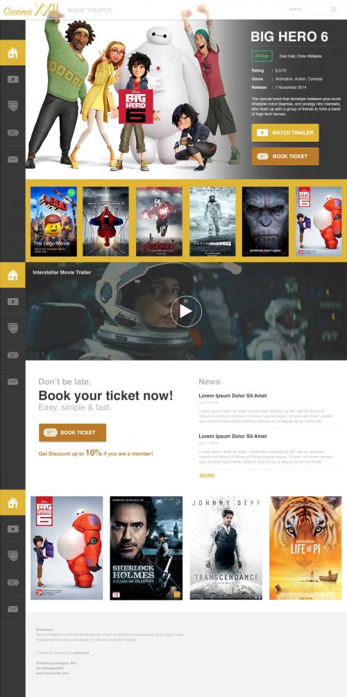 free movie cinema website psd template at freepsd cc