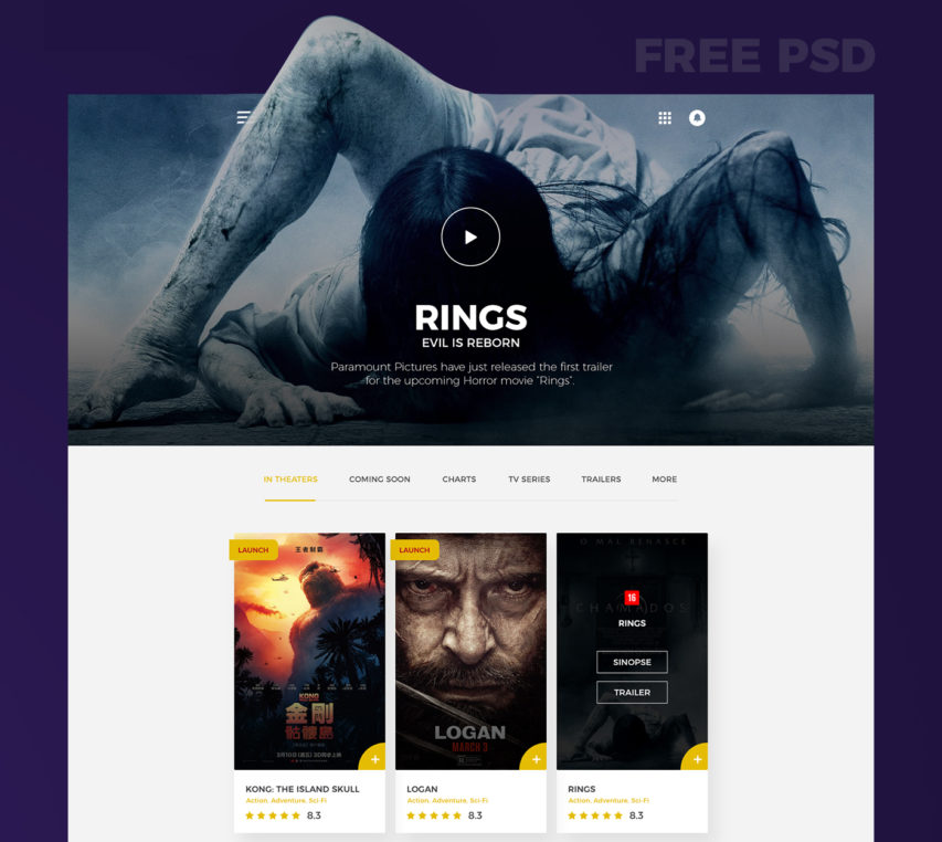 Free Movies Website Template Free PSD at FreePSD.cc