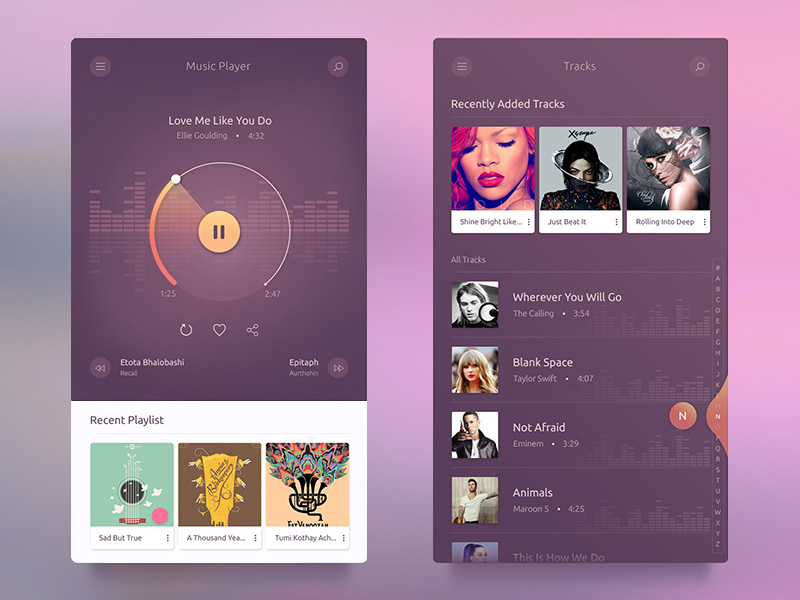 Music Player by Md Abadul Biswas on Dribbble