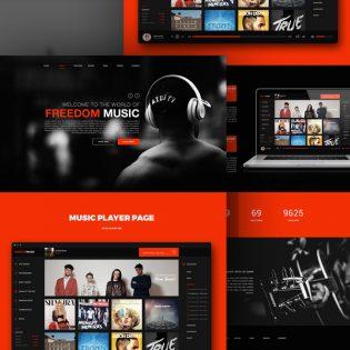 Music Player App Website Template Free PSD
