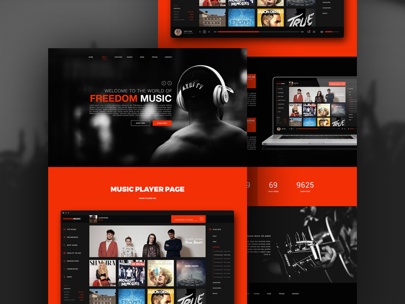 free music player app website template free psd at freepsd cc