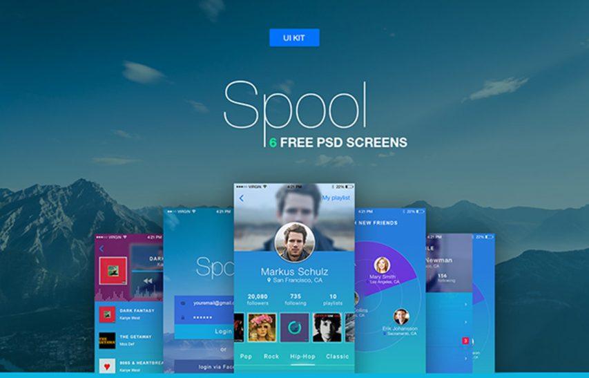 Free Music and Social Mobile App UI Kit Free PSD at FreePSD.cc