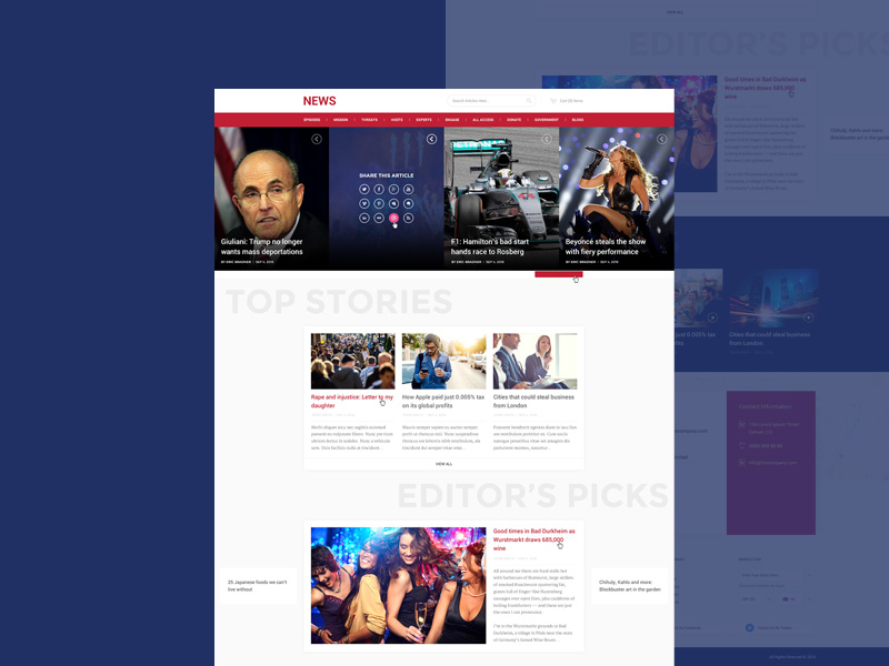 Free News And Magazine Style Website Template Psd At Freepsd
