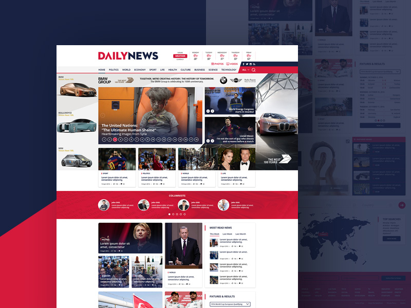 Free News and Magazine Website Template Free PSD at FreePSD.cc