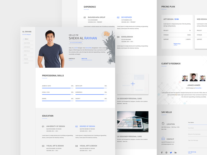 Free One Page CV Resume Template PSD at FreePSDcc