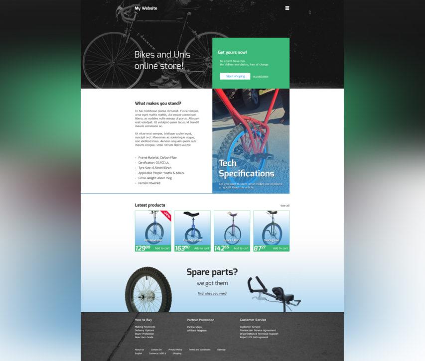 Free Online Bike Store Website Template Free PSD at FreePSD.cc