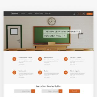 Online Education Website Template Free PSD
