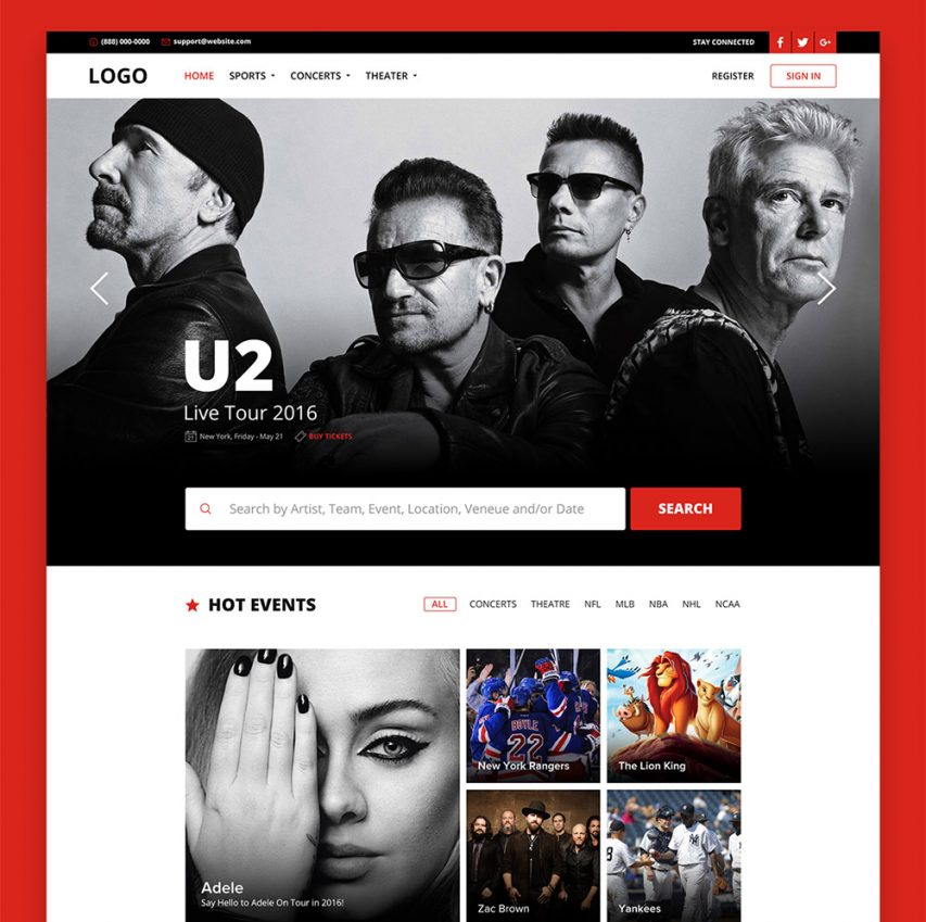 Free Online Ticket Booking Website Template Free PSD at FreePSD.cc