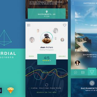People And Places Search App UI Free PSD