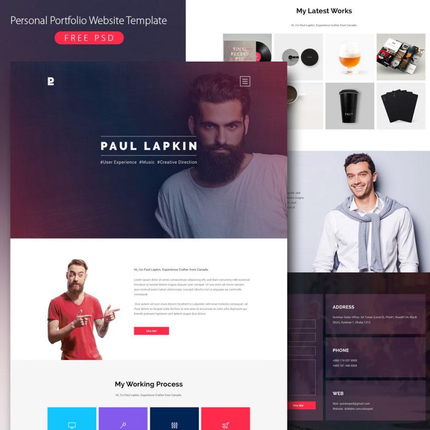 free personal portfolio website template free psd at freepsd cc