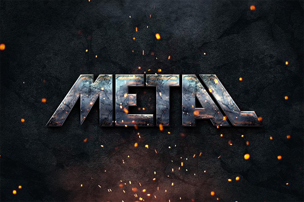 Photoshop Metal Text Style Effect PSD