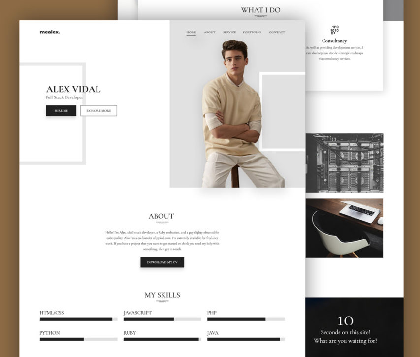 Free portfolio and resume website template free psd at for Cv website template free
