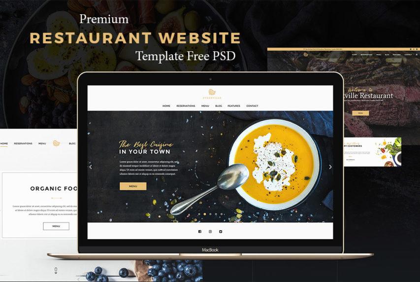 Premium Restaurant Website Template Free PSD