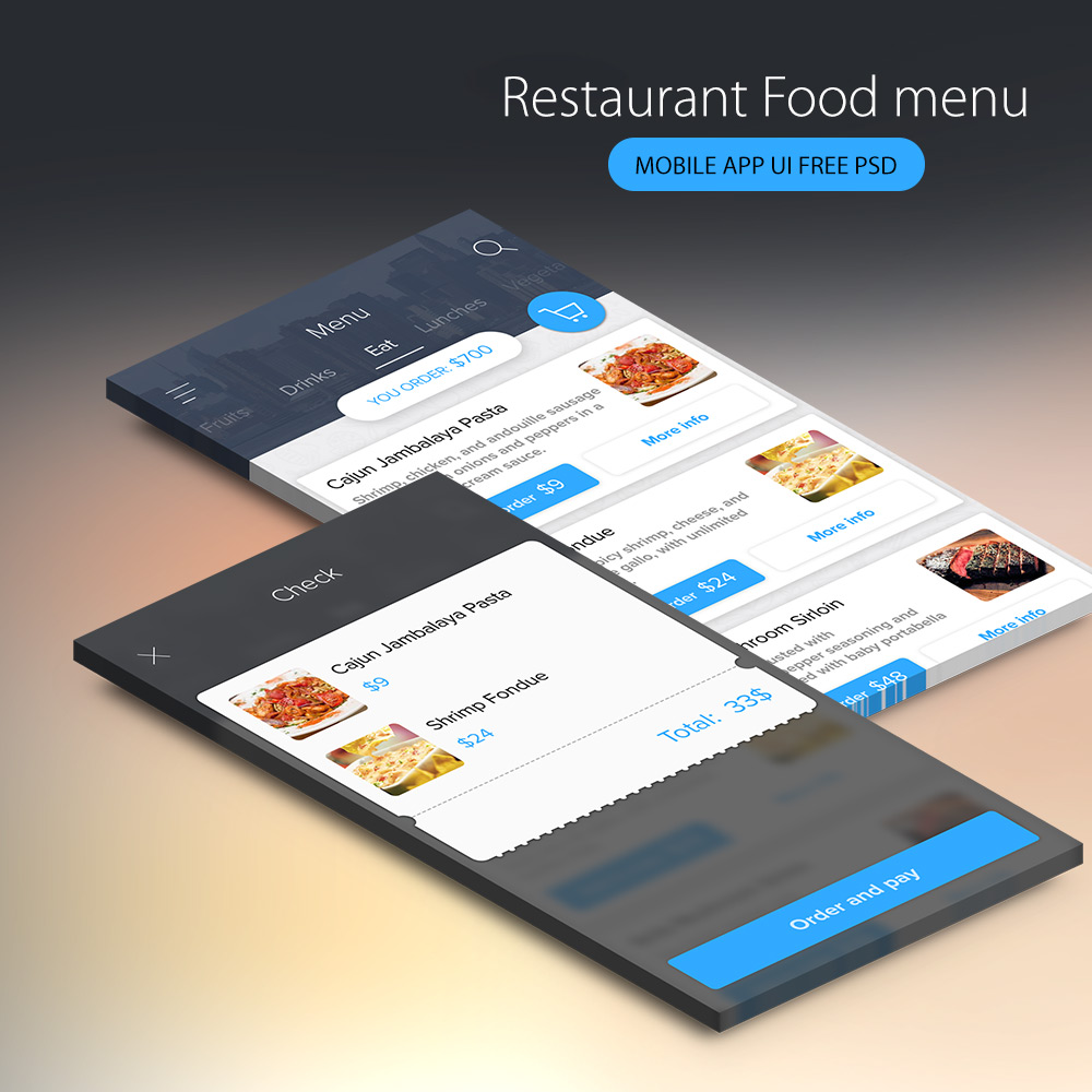Free restaurant food menu mobile app ui psd at freepsd cc