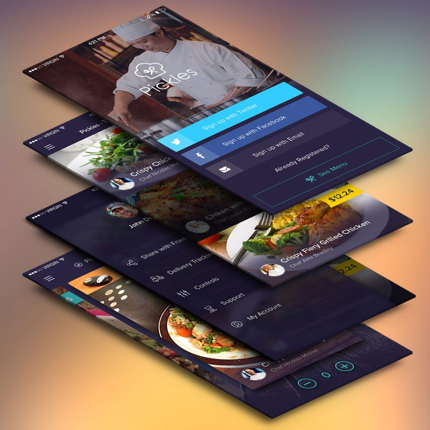 Free restaurant mobile app ui screens psd at freepsd cc