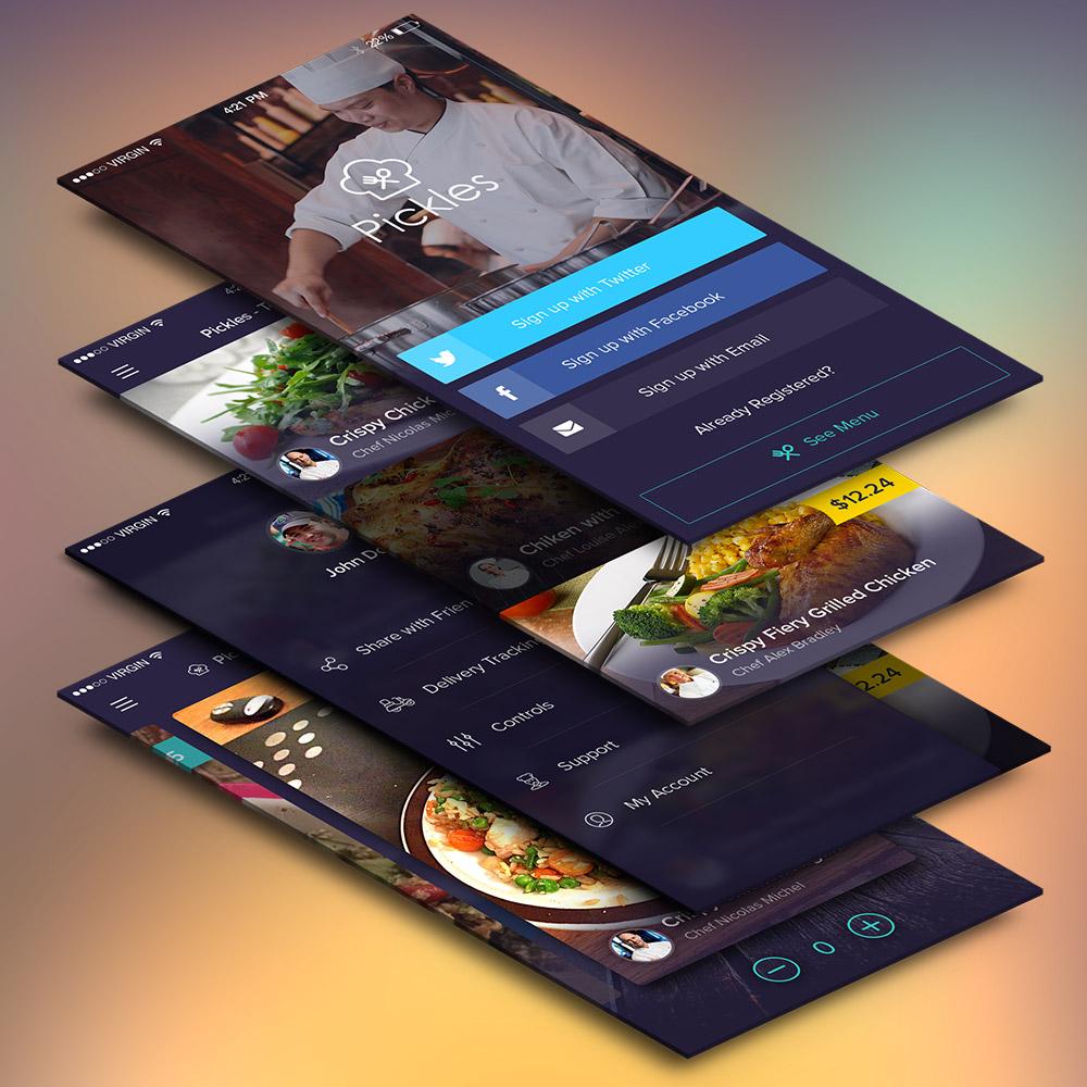 Restaurant Mobile App UI Screens Free PSD
