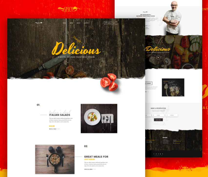 free restaurant and cafe website template free psd at freepsd cc