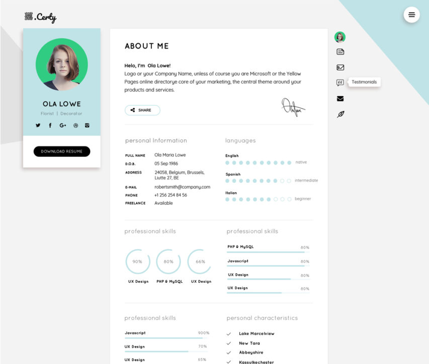Free resume cv website theme template free psd at freepsdcc for Cv website template free