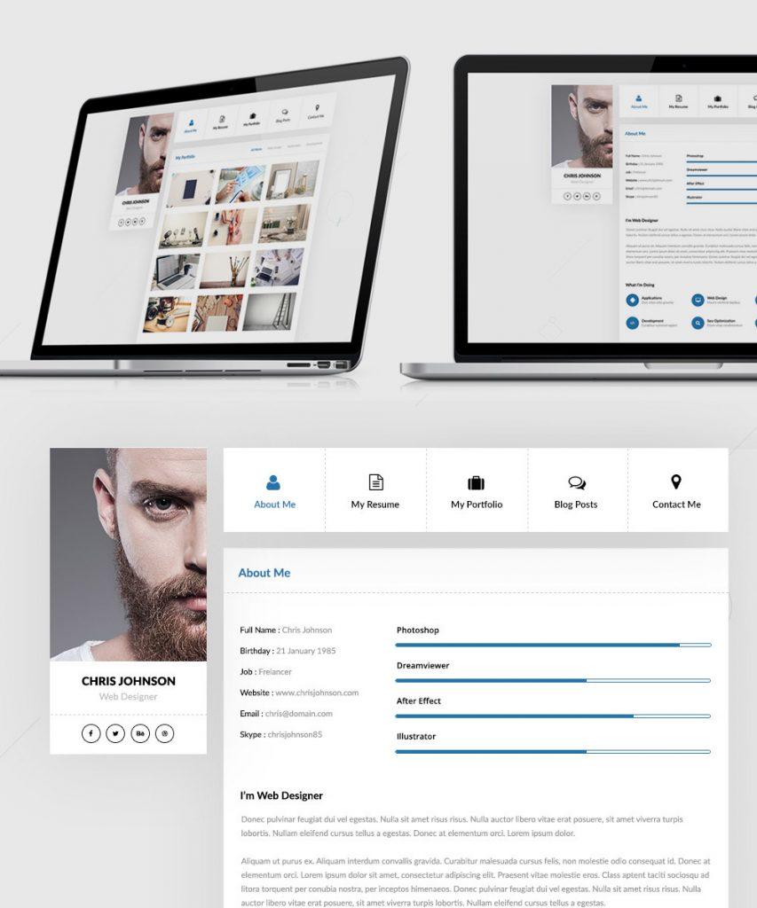 Free Resume and Portfolio Website Templates Free PSD at FreePSD.cc