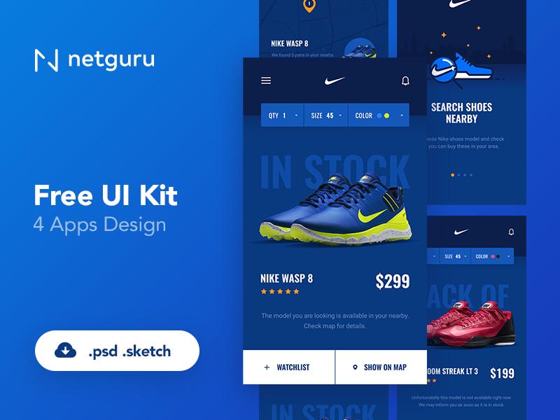 Free Shoes eCommerce Mobile App UI Kit Free PSD at FreePSD.cc