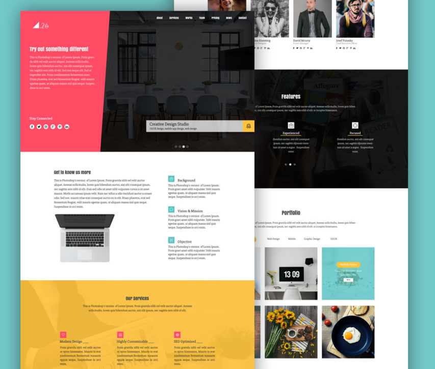 free simple one page portfolio website template psd at