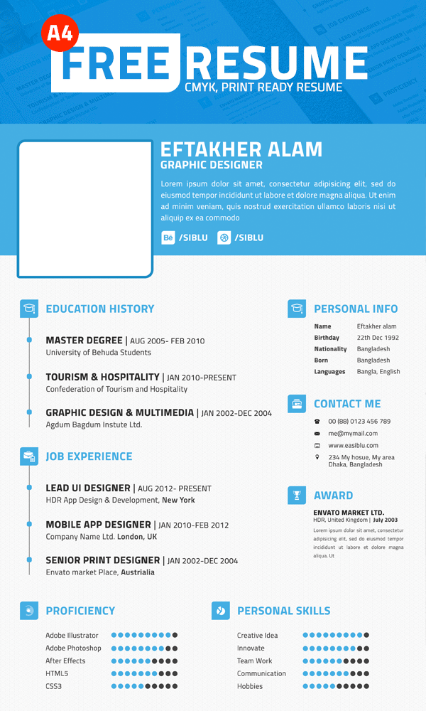 Free Simple Professional Resume Template PSD File at FreePSDcc