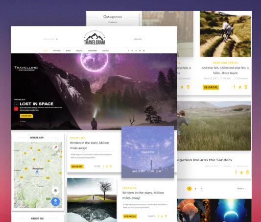 Simple Travel Blog Website Template PSD