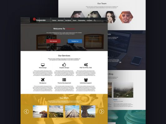 Simplistic Corporate Website Template Free PSD