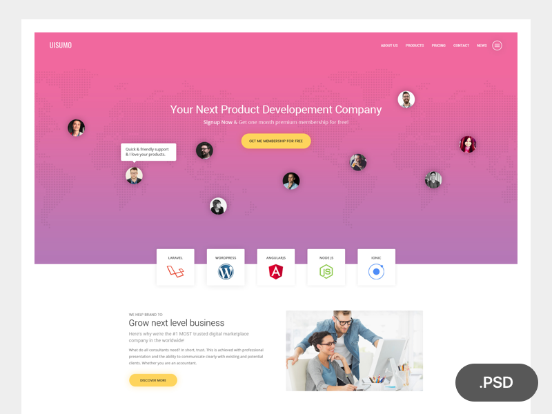 Free Single Page Creative Website Template PSD at FreePSD.cc