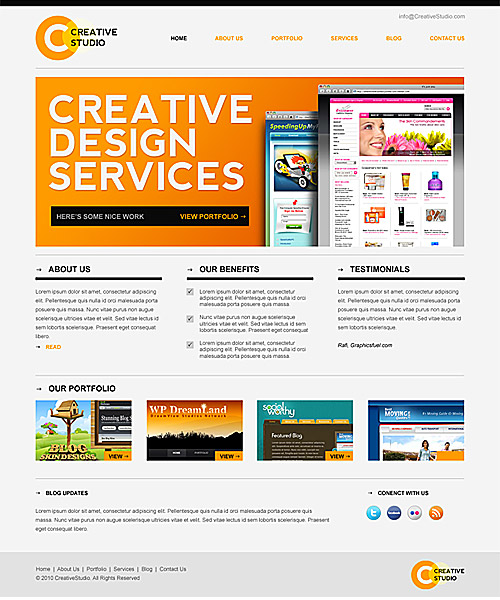 Sleek Minimal Website PSD Template L