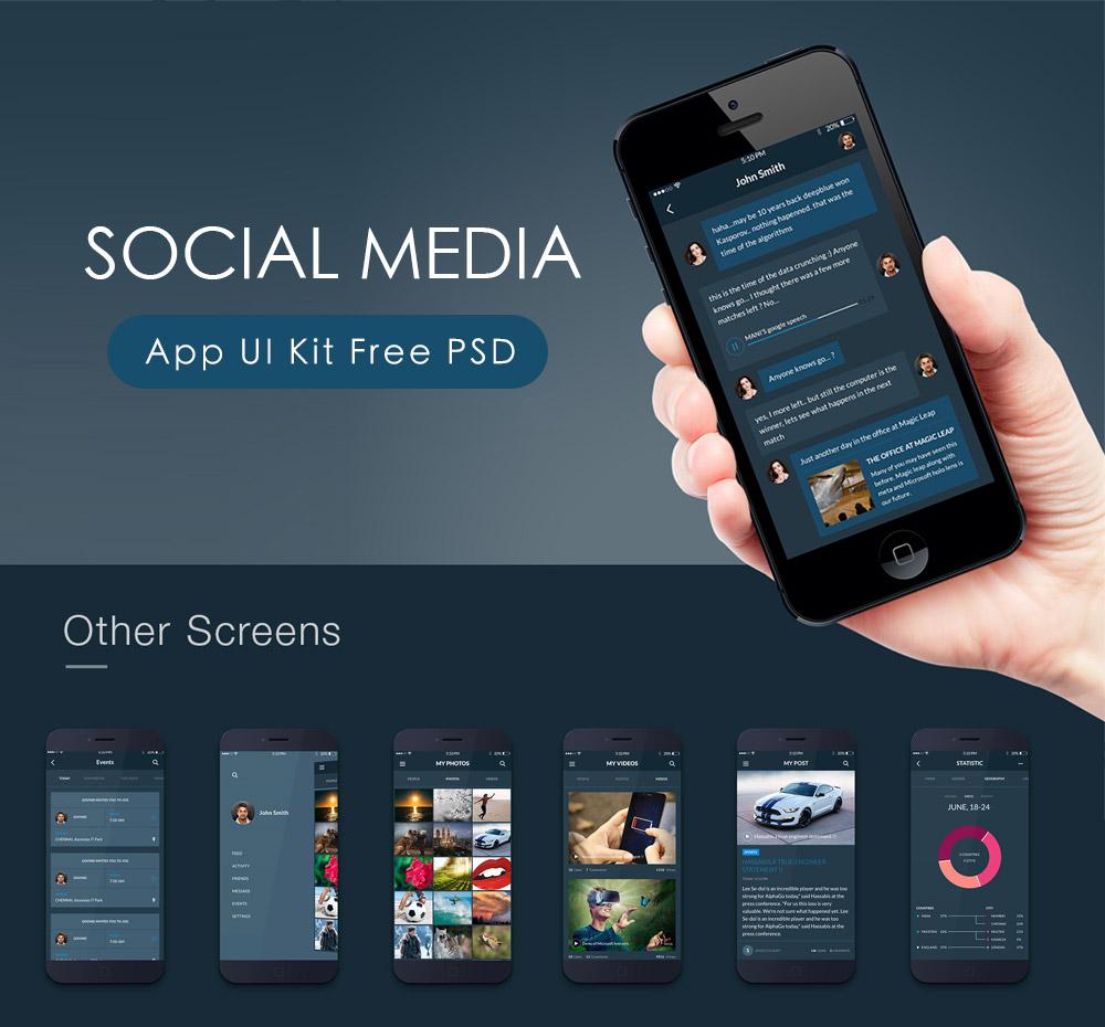 Social Media App UI Kit Free PSD