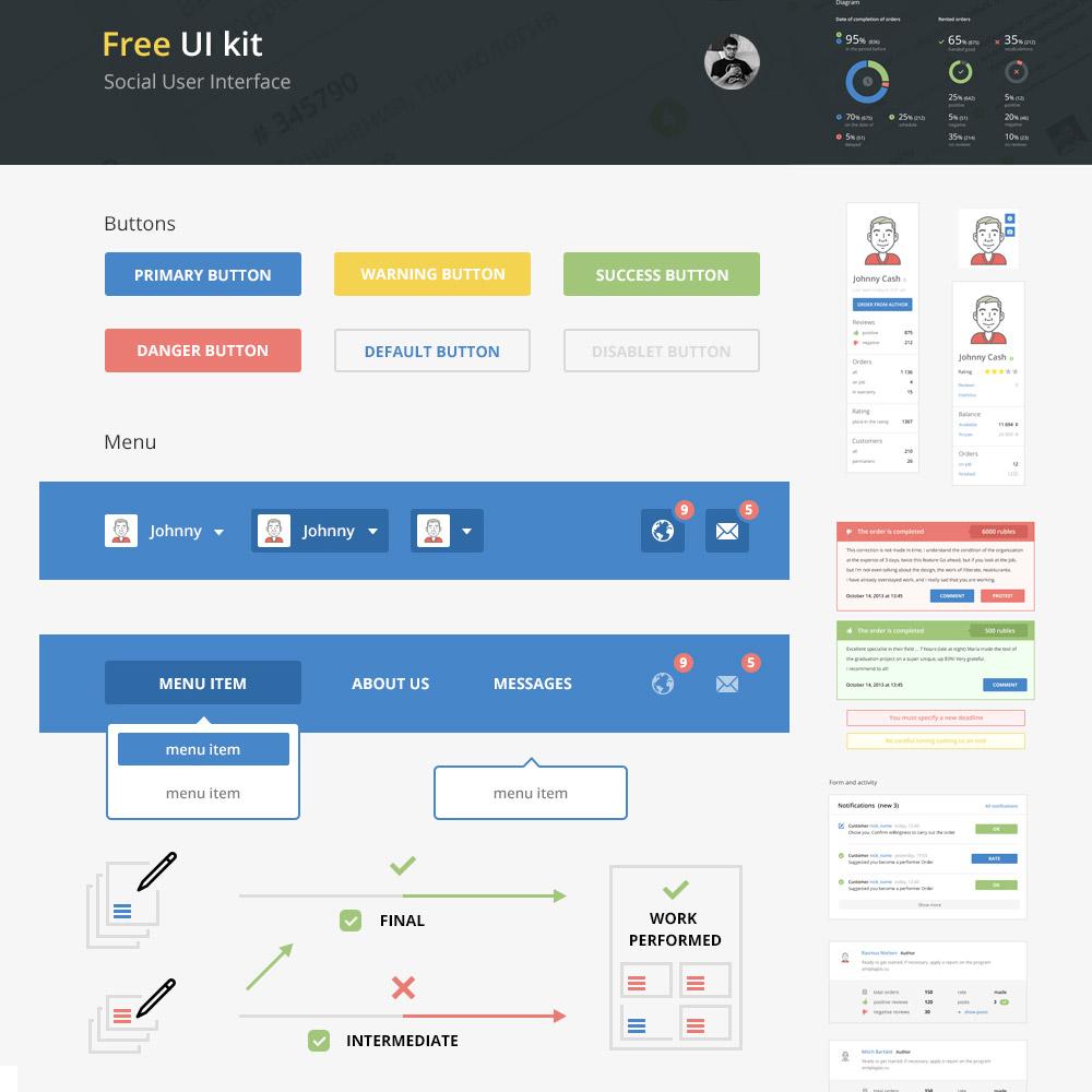 Social Media UI Elements Kit Free PSD