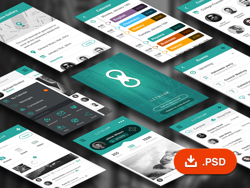 Social Network Mobile App UI Kit Free PSD