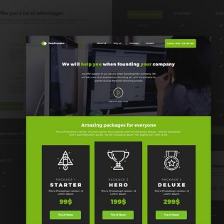 Startup Company Landing Page Template PSD