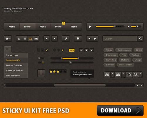 Sticky Butterscotch UI Kit Free PSD L
