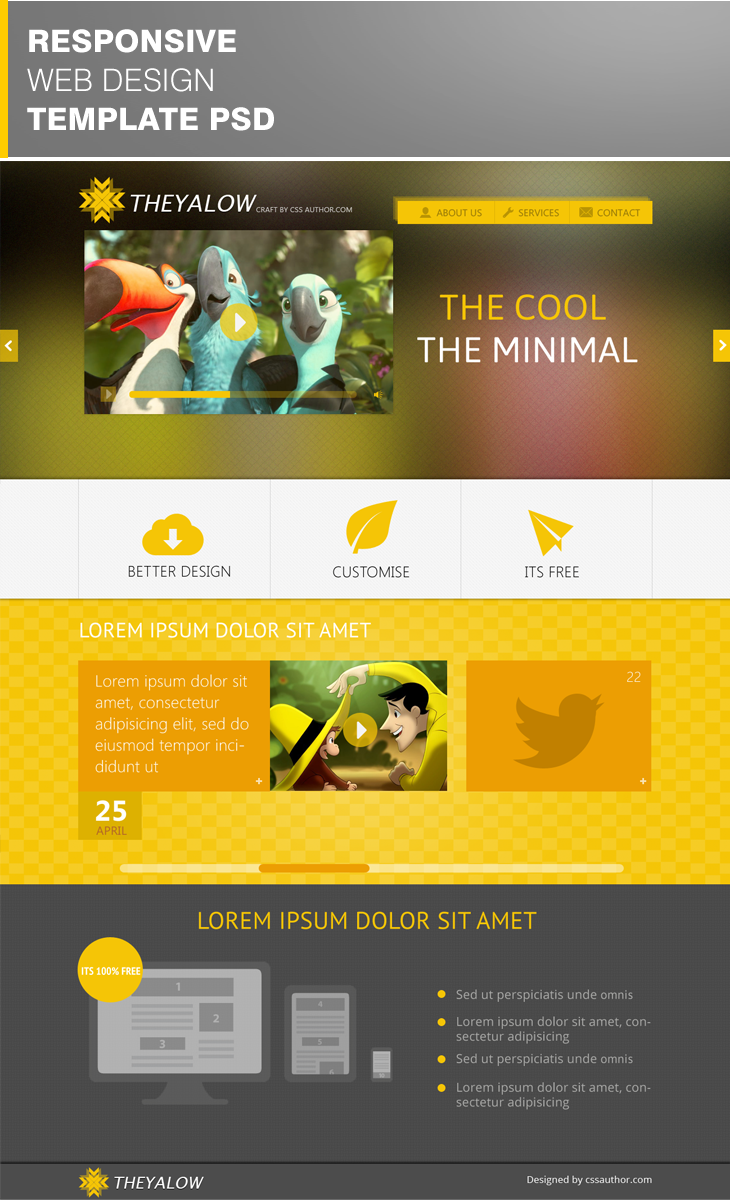 Free Theyalow Responsive Web Design Template Psd At Freepsd Cc