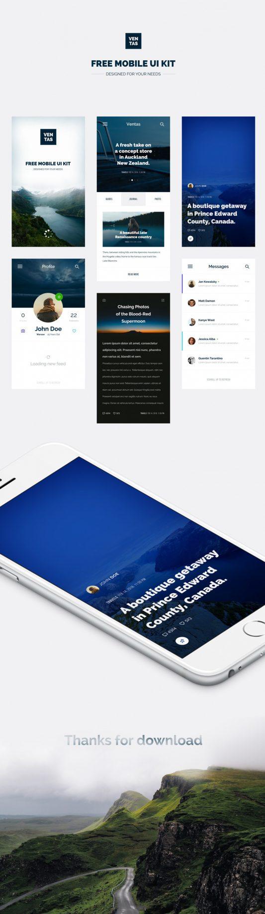 Travel Magazine Mobile App UI Kit Free PSD
