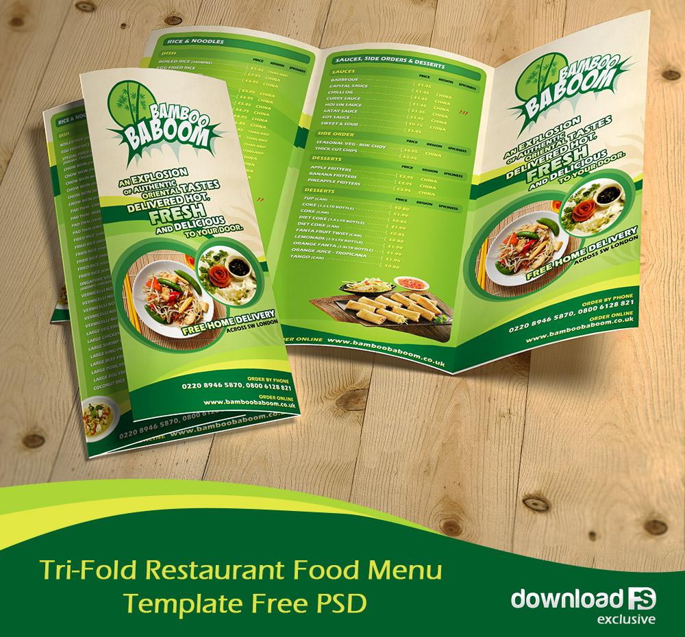 Tri Fold Restaurant Food Menu Template Free PSD