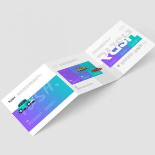 Trifold Square Brochure Mockup PSD