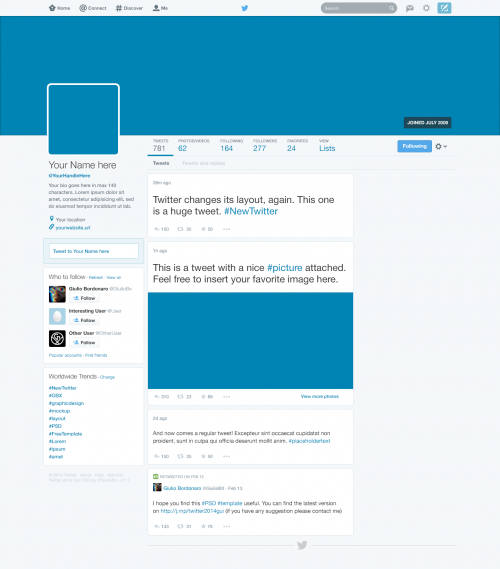 Free Twitter 2014 GUI New Profile Design PSD at FreePSD.cc