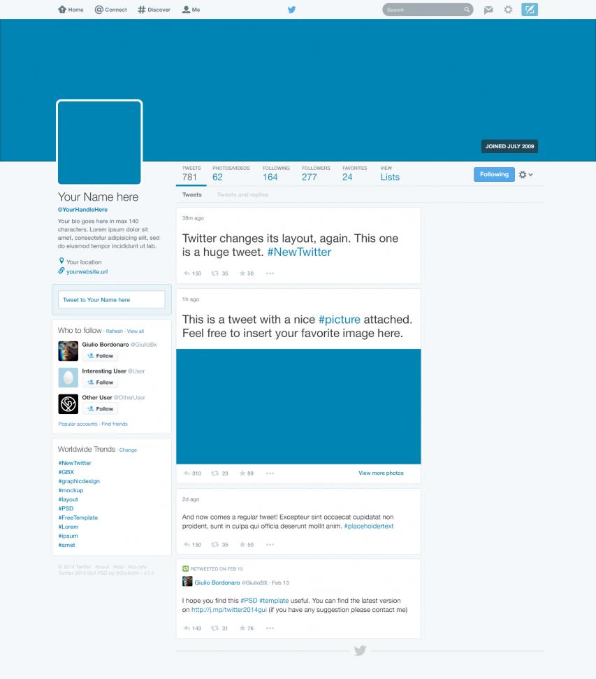 Free Twitter 2014 GUI New Profile Design PSD at FreePSD.cc