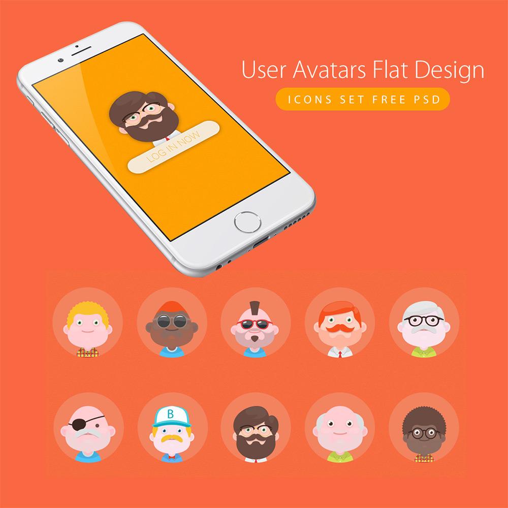 User Avatars Flat Design Icons Set Vector PSD