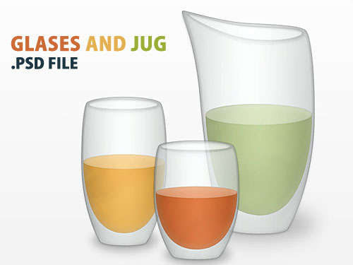 Vector Glass And Jug PSD L