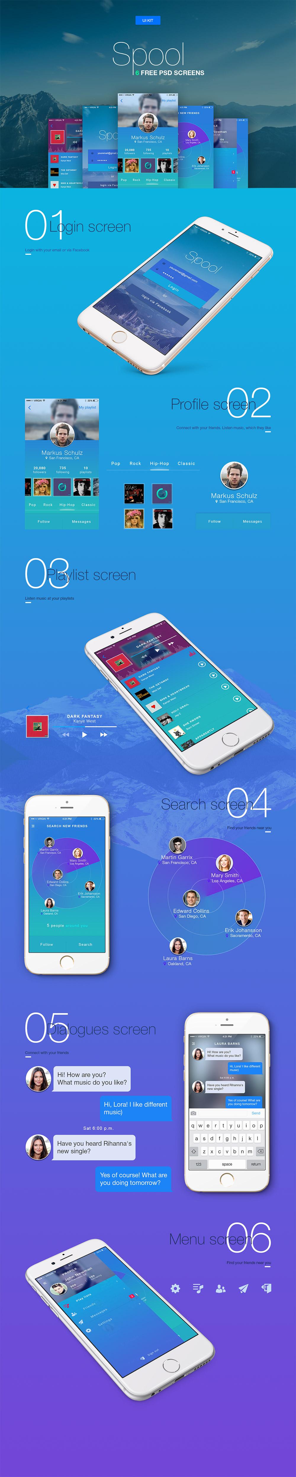 Vibrant IOS App UI Templates Free PSD
