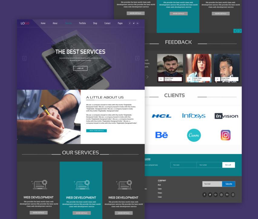 Web Design Services Website Template PSD
