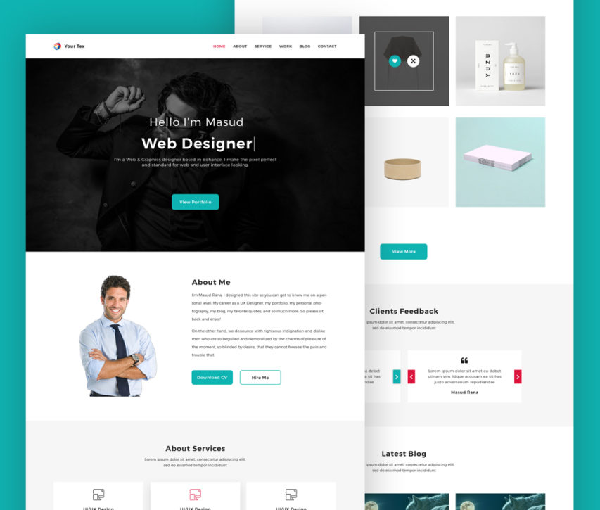 free web designer personal portfolio website template psd at freepsd cc
