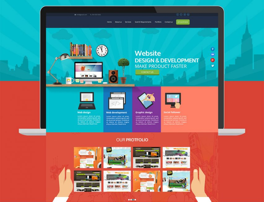 Free Web Services Company Website Template Free PSD At FreePSDcc - Web development company templates
