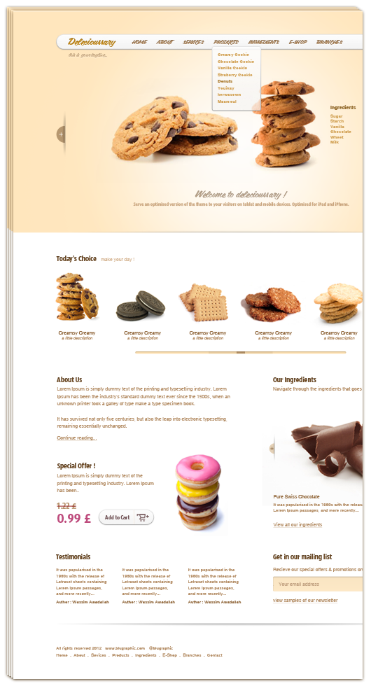 Delecioussary Cookies Website Template PSD